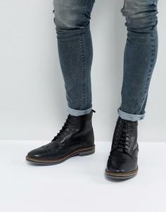 Черные кожаные ботинки броги Base London - Черный