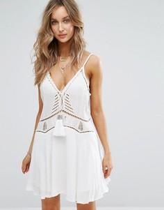 Белое пляжное платье с кисточками Surf Gypsy - Белый
