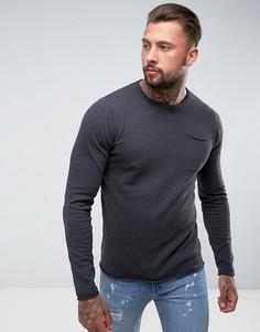 Джемпер с круглым вырезом и карманом D-Struct - Серый