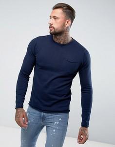 Джемпер с круглым вырезом и карманом D-Struct - Темно-синий