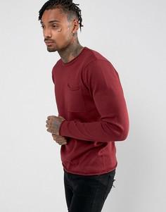 Джемпер с круглым вырезом и карманом D-Struct - Красный