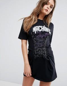 Платье-футболка со шнуровкой River Island - Мульти