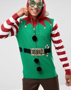Новогодний джемпер с капюшоном в стиле костюма эльфа с поясом Brave Soul - Зеленый
