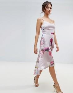 Розовое платье асимметричной длины с цветочным принтом Hope & Ivy - Розовый