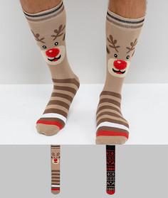 Набор из 2 пар новогодних носков в подарочной упаковке Urban Eccentric - Мульти