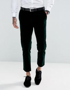 Темно-зеленые укороченные брюки скинни из бархата Gianni Feraud - Зеленый