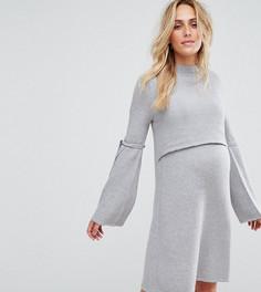 Платье-джемпер с завязками на рукавах ASOS Maternity NURSING - Серый