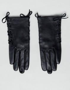 Кожаные перчатки со шнуровкой ASOS - Черный