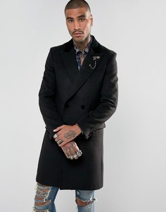 Пальто с бархатным воротником и булавкой на лацкане Devils Advocate Premium - Черный