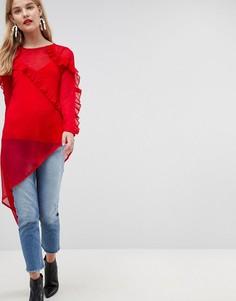 Асимметричная шифоновая блузка с оборкой ASOS Ultimate - Красный