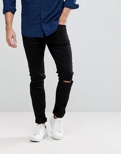 Черные джинсы скинни из переработанного денима с разрезами Cheap Monday C/O - Черный