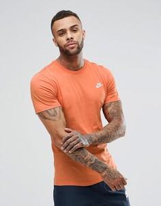 Оранжевая футболка с вышитым логотипом-галочкой Nike 827021-881 - Оранжевый