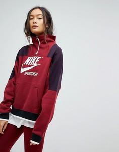 Бордовый свитшот с молнией Nike Archive - Красный