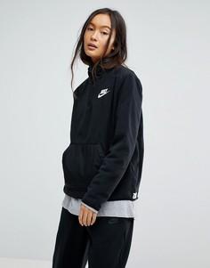 Черный флисовый пуловер с молнией Nike - Черный
