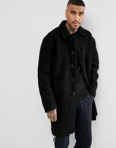 Черное пальто из искусственного меха ASOS - Черный