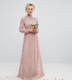 Декорированное платье макси с воротником-стойкой и вырезом капелькой Maya Petite - Розовый