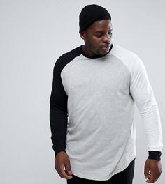 Длинная футболка с контрастными рукавами реглан длиной 3/4 ASOS PLUS - Мульти