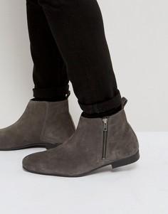 Темно-серые замшевые ботинки челси на молнии сбоку Frank Wright - Серый