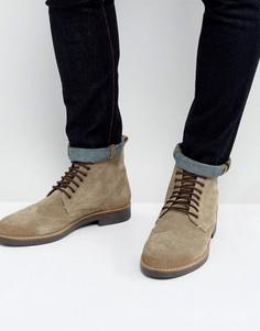 Серо-коричневые замшевые ботинки броги Frank Wright - Коричневый