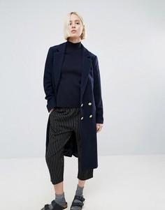Длинное пальто с добавлением шерсти Ganni Hawthorne - Темно-синий