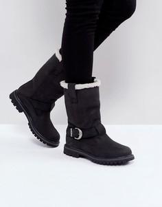 Черные байкерские ботинки с подкладкой из искусственного меха Timberland Nellie - Черный