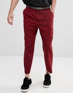 Бордовые зауженные брюки со складками ASOS - Красный