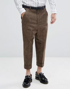 Суженные коричневые брюки в клетку заниженного кроя с добавлением шерсти ASOS - Коричневый