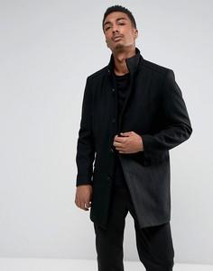 Пальто с добавлением шерсти и воротом-трубой Selected Homme - Черный