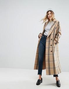 Клетчатое пальто с добавлением шерсти ASOS - Мульти
