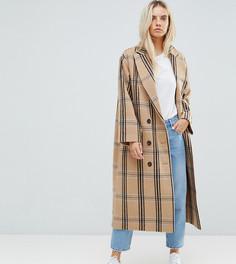 Клетчатое шерстяное пальто ASOS PETITE - Мульти