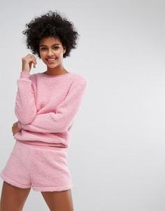 Пушистый пижамный комплект с шортами Loungeable - Розовый