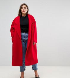 Пальто с большим воротником ASOS CURVE - Красный
