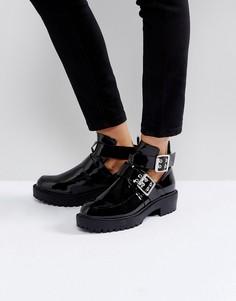 Черные лакированные ботинки с пряжками Boohoo - Черный
