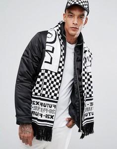 Вязаный шарф в черно-белую клетку ASOS - Черный