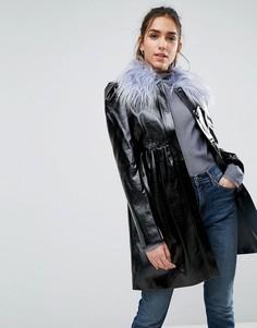 Короткое пальто с воротником из искусственного меха ASOS - Черный
