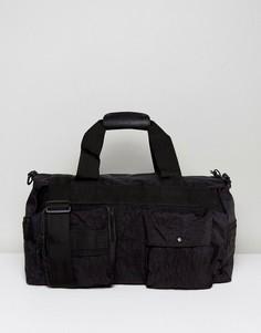 Черная фактурная сумка с наружным карманом ASOS - Черный