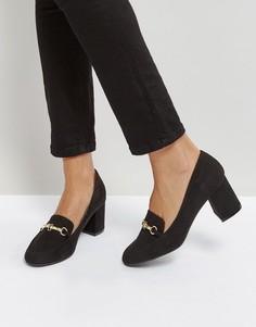 Лоферы на среднем каблуке Qupid - Черный