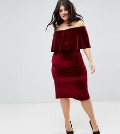 Велюровое платье миди Club L Plus - Красный
