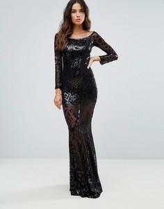 Платье макси с широким вырезом и пайетками Club L - Черный