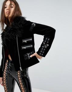 Куртка с воротником из искусственного меха и пряжками Tripp NYC - Черный