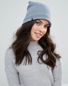 Серо-голубая шапка с флисовой подкладкой Plush - Синий