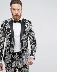 Облегающий пиджак с цветочной вышивкой Devils Advocate - Черный
