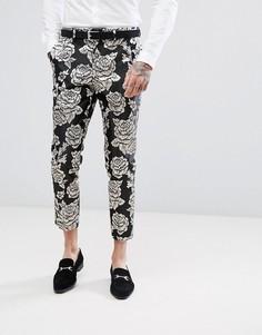 Укороченные брюки скинни с серебристой цветочной вышивкой Devils Advocate - Черный