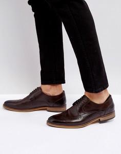 Коричневые кожаные туфли дерби на шнуровке с натуральной подошвой ASOS - Коричневый
