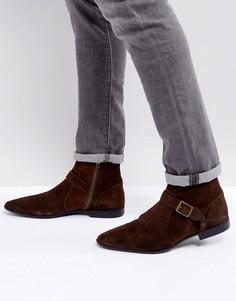 Коричневые замшевые ботинки челси с ремешками и молнией ASOS - Коричневый