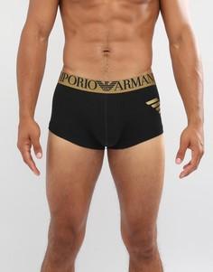 Черные боксеры-брифы с большим логотипом металлик Emporio Armani - Черный