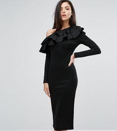 Платье миди на одно плечо с длинными рукавами и оборками Club L - Черный