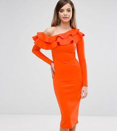 Платье миди на одно плечо с длинными рукавами и оборками Club L - Оранжевый