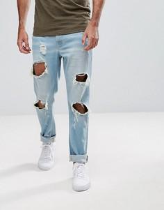 Узкие джинсы с рваными коленями Hoxton Denim - Синий