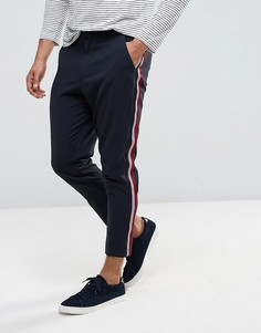 Темно-синие зауженные брюки с серебристыми полосками по бокам ASOS - Темно-синий